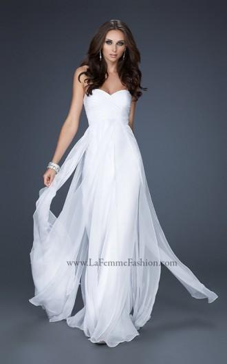 Rochie de seară lungă, albă, fără bretele, cu corset