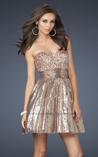rochie de seara babydoll aurie cu paiete strălucitoare