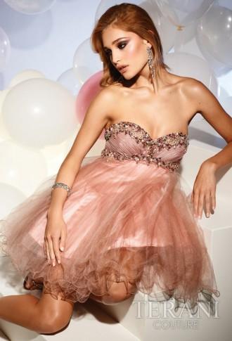 Rochiță nude, stil Baby Doll, cu corset împodobit cu pietre, din tulle și chiffon fin