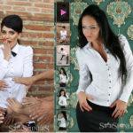 Cămașă albă, elastică, mulată, cu mâneci încrețite și bufante, Fofy Style