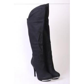Cizme negre, lungi, cu toc înalt și platformă, www.fashionshoes.ro