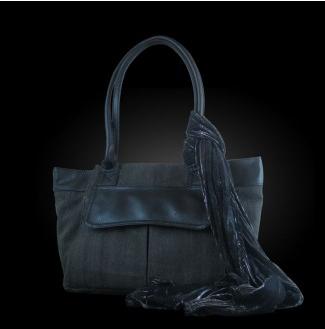 geanta canvas gri cu piele neagra