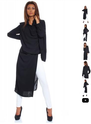 Bluza asimetrica neagra din voal tip tunica neagra