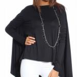bluza asimetrica tip tunica neagra urban ones