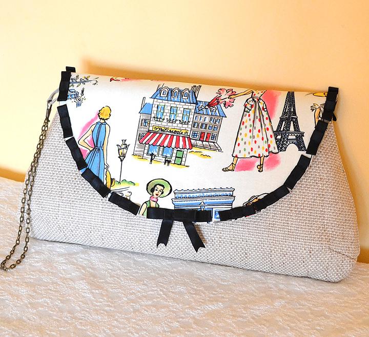 Poseta de Mana From Paris with Love Bej cu Imprimeu Motive Parisiene