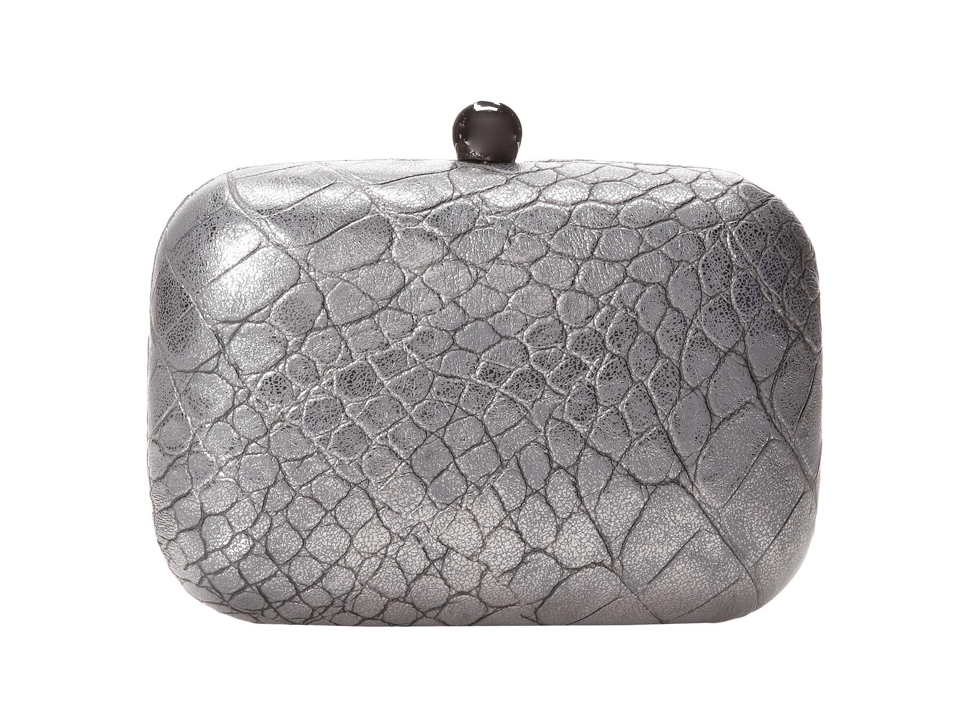 Poseta Clutch imprimeu crocodil, culoare argintiu metalic Jessica McClintock Croco Minaudière w/Jewel Clasp