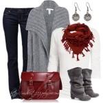 Colaj outfit zile racoroase cardigan, blugi, cizme, esarfa