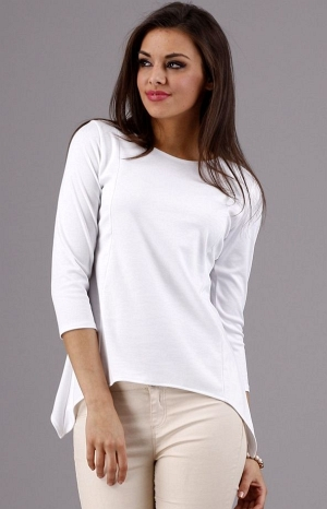 Bluza alba, simpla, casual, asimetrica