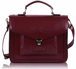 Geanta bordo stil messenger college bag cu catarama metalica aurie maner si bretea reglabila pentru umar