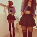 Outfit cu fusta mini scurta  neagra si dres cu model
