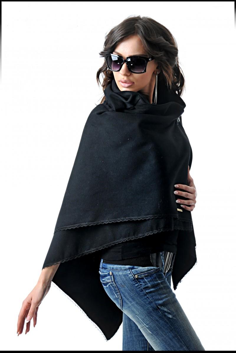 poncho negru elegant din stofa dubla