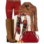 outfit de toamnă piese de îmbrăcăminte, accesorii și încălțăminte  în nuanțe de roșu cu maro