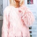jachetă modernă casual din blană pufoasă roz deschis