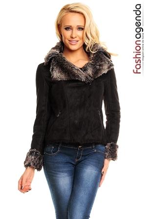 Jacheta_Milton_neagră cu blană la guler și mâneci