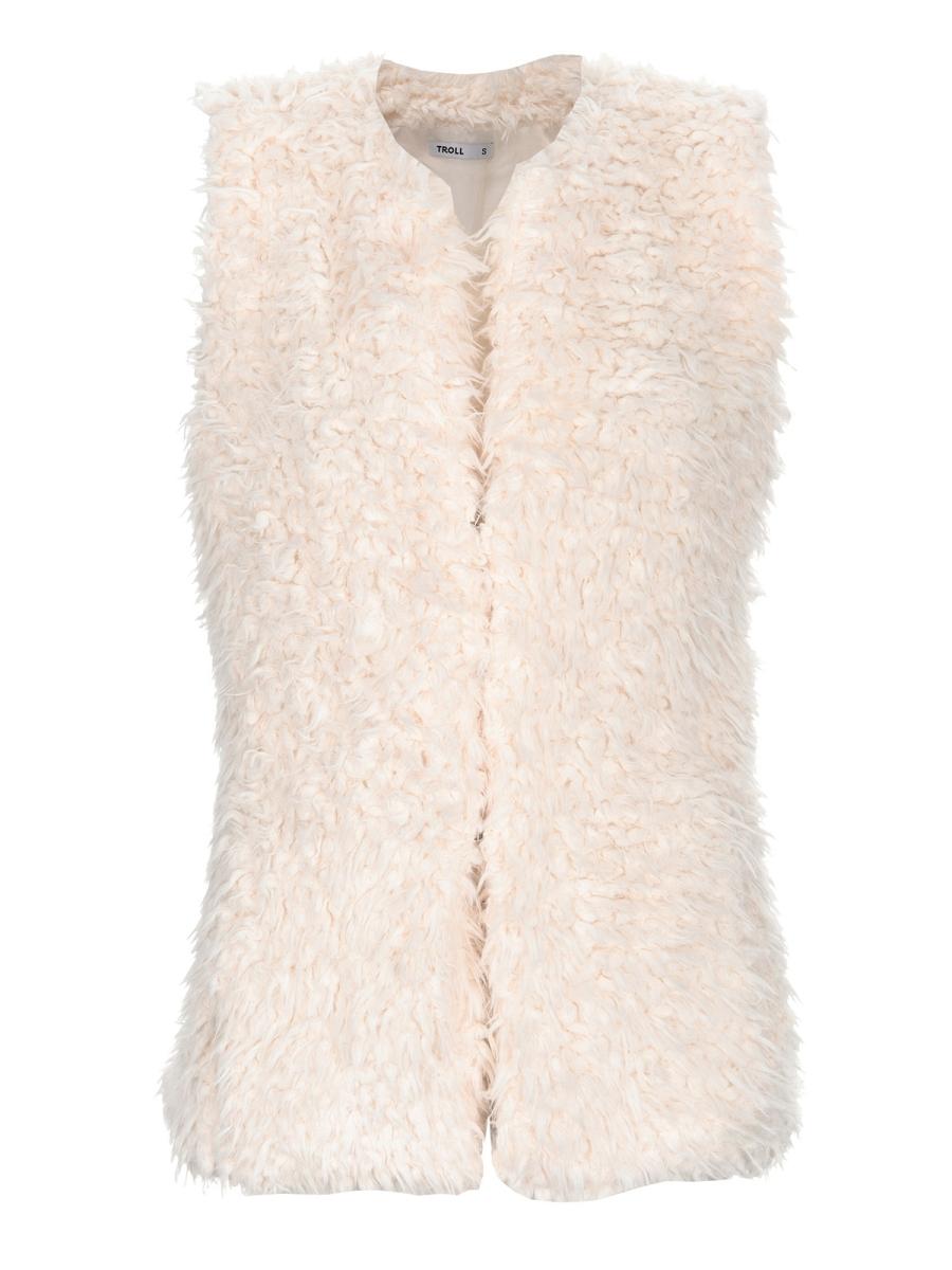 vestă modernă, cambrată, simplă, din blană albă, pufoasă