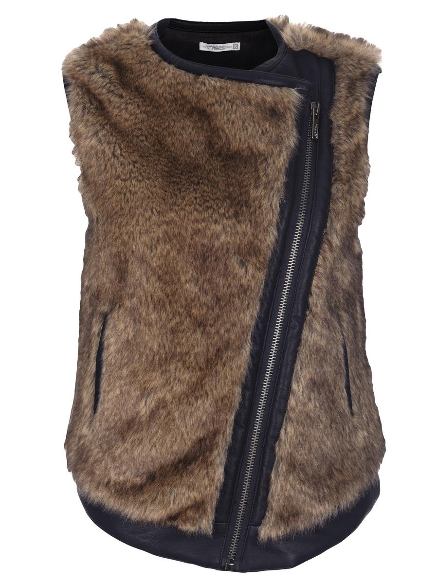 vesta maro cu blană și fermoar asimetric, din piele ecologică neagră, cu buzunare