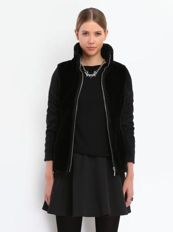 jachetă neagră modernă simplă cu blană și mâneci din stofă, croi cambrat