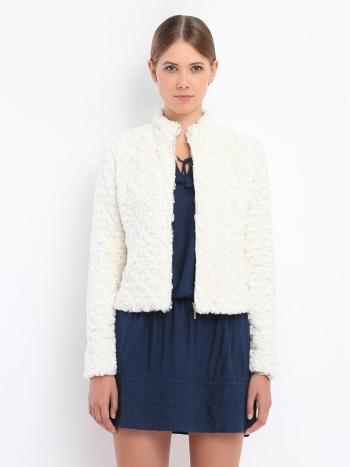 jachetă modernă din blană albă simplă cambrată