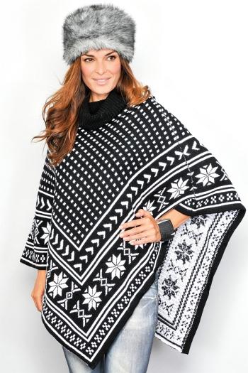 poncho gros tricotat alb negru imprimeu cu motive de iarna si stelute fulgi de nea