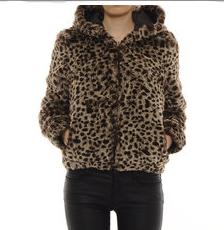 jacheta scurta simpla din blana imprimeu animal print imprimeu leopard