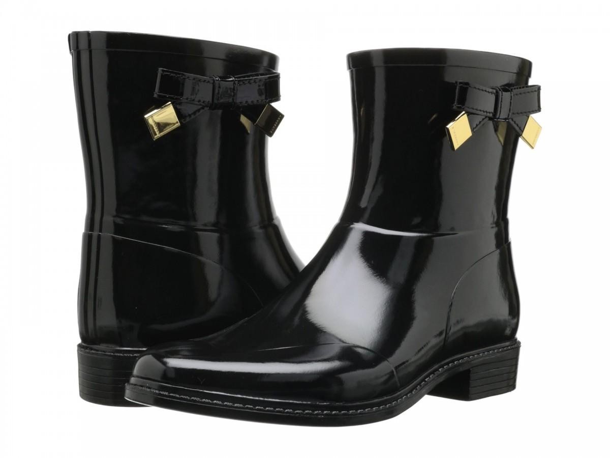 Cizme de ploaie din cauciuc lucios negru, cu fundițe laterale Burberry Westcott Rainboot