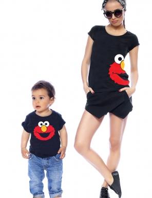 set-tricouri-mama si copilul elmo-face