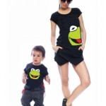 set-tricouri-mama si copilul imprimeu kermit muppets broscuta verde