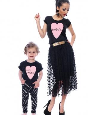 set-tricouri-mama-si-copil-angel-~-negru- cu inimioara roz mom s angel