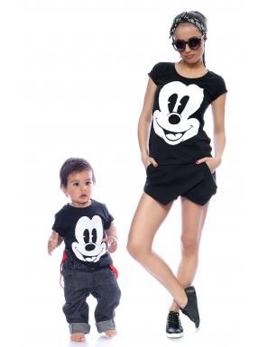 set-tricouri mama si copilul imprimeu-mickey-mouse-~-negru-cu alb