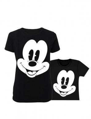 set-tricouri-mama si copilul imprimeu fata mickey-mouse-~-negru cu alb