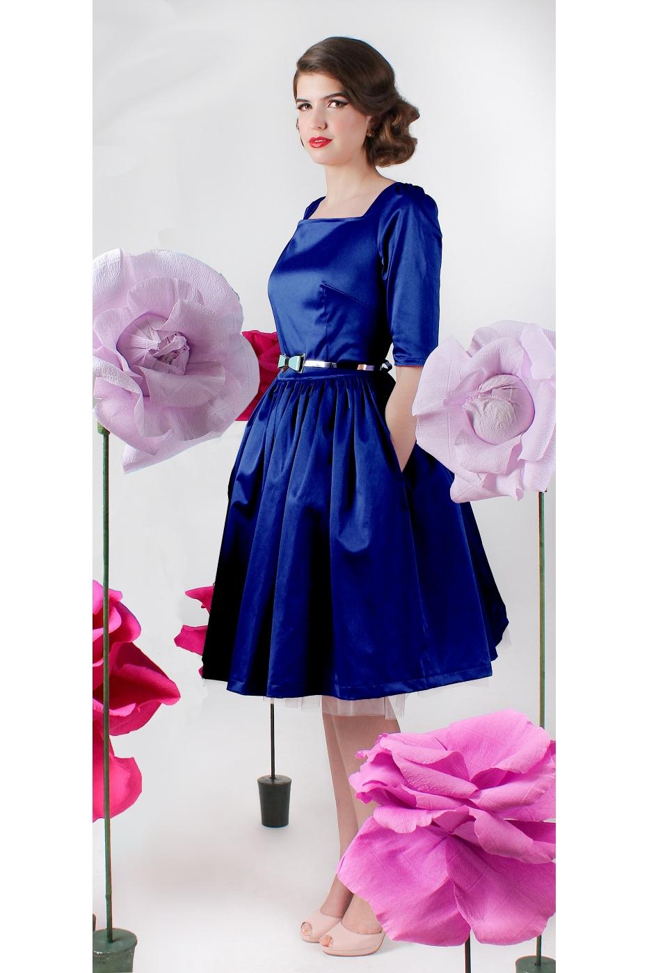 rochie albastru regal croiala retro vintage clos