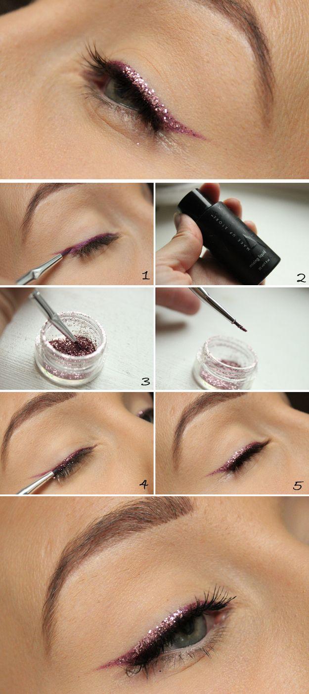 cum trasezi o linie eye liner cu sclipici  pe ochi, cum sa faci un fard de pleoape glossy