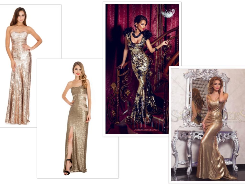 rochii lungi aurii