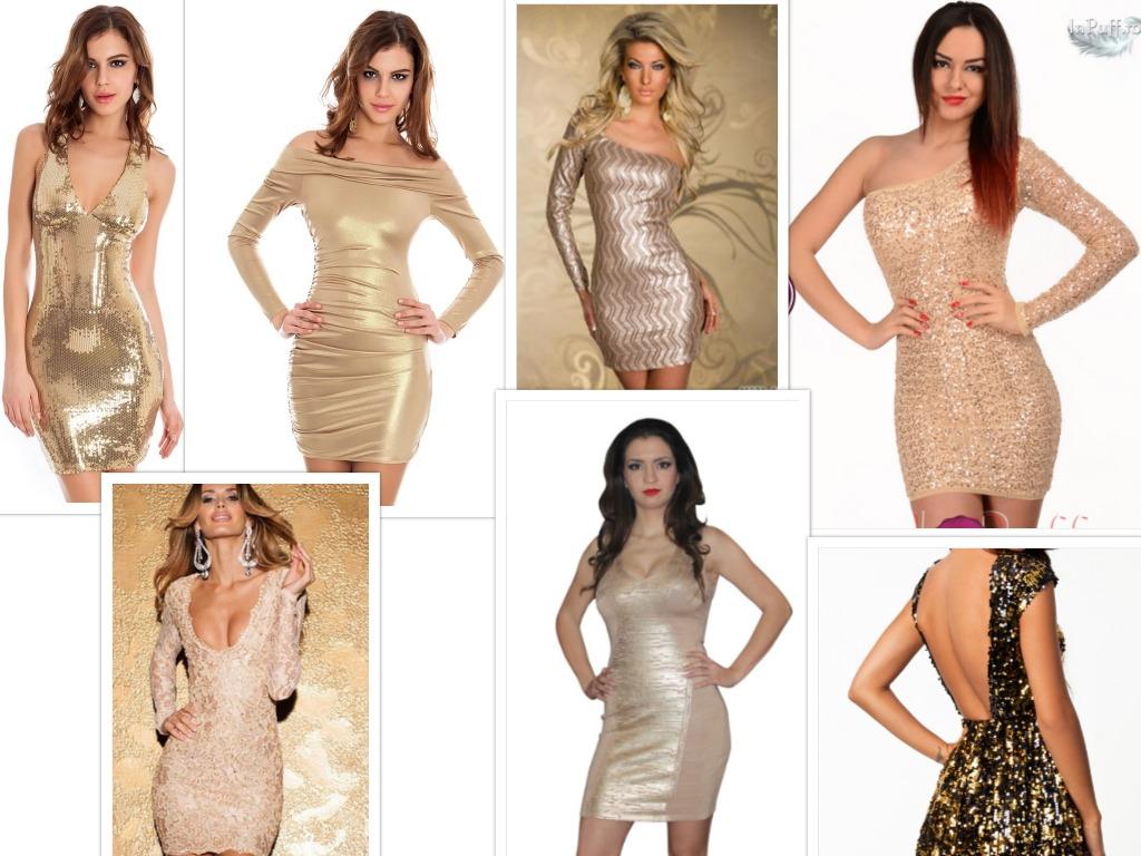 rochii scurte aurii