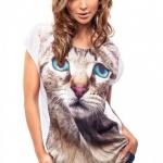 tricou imagine cu pisica gri cu ochi albastri