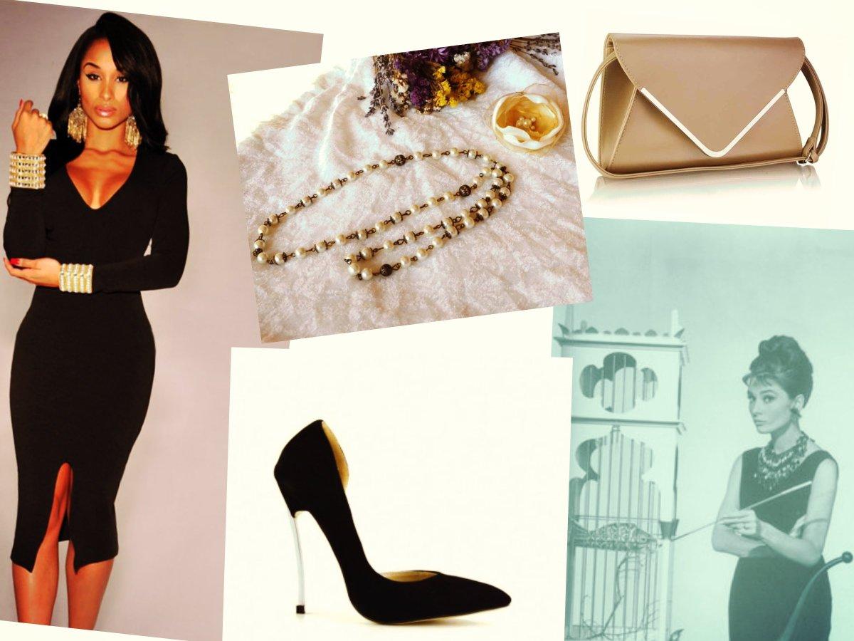 outfit cu rochie neagra simpla, perle pantofi stiletto negri si poseta plic bej stil breakfast at tiffany s