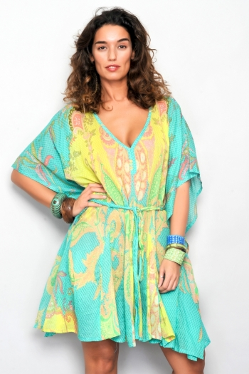rochie de plaja tip halat kimono cu cordon culori vesele turcoaz cu galben