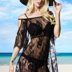 rochie de plaja tip bluza dantela neagra semitransparenta