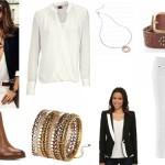outfit tinuta office alb negru si accesorii maro