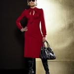 rochie rosie midi croi elegant stil retro