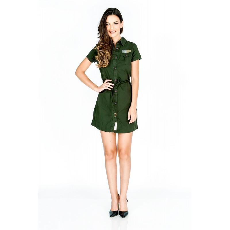 rochie scurta stil camasa verde