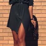 rochie tip camasa neagra