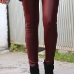 pantaloni piele eco bordo