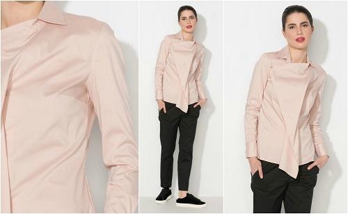 camasa asimetrica roz pudra