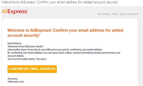 confirmare cont AliExpress pe mail