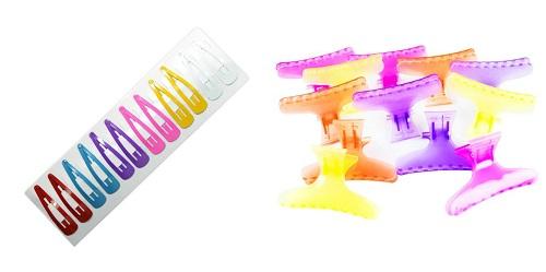 agrafe de par colorate si clesti de par din plastic colorati ca in anii 90