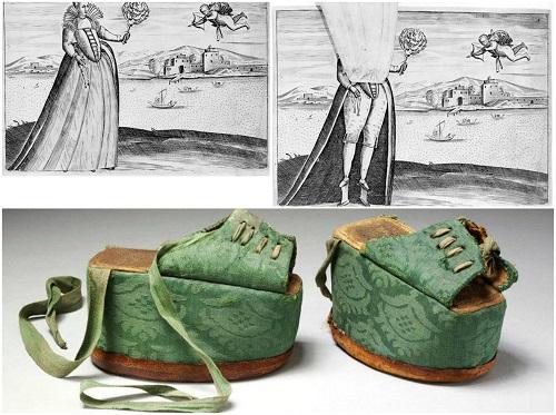 pantofi cu platforma care dateaza din evul mediu