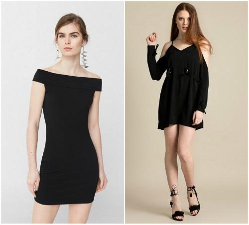 rochii negre simple cu umerii goi