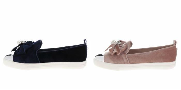 pantofi loafers din catifea cu perle