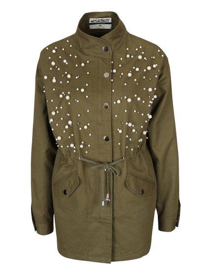 jacheta parka military verde kaki cu perle